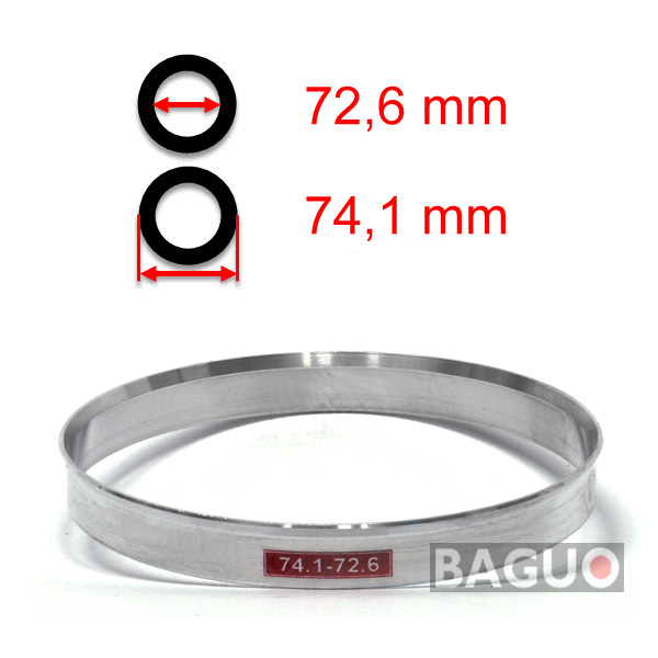 Bague de centrage en aluminium 74,1 - 72,6 mm ( 74.1 - 72.6 )